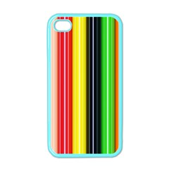 Colorful Striped Background Wallpaper Pattern Apple Iphone 4 Case (color)