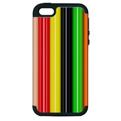 Colorful Striped Background Wallpaper Pattern Apple Iphone 5 Hardshell Case (pc+silicone)