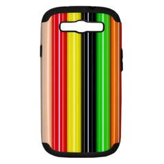 Colorful Striped Background Wallpaper Pattern Samsung Galaxy S III Hardshell Case (PC+Silicone)