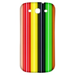Colorful Striped Background Wallpaper Pattern Samsung Galaxy S3 S III Classic Hardshell Back Case