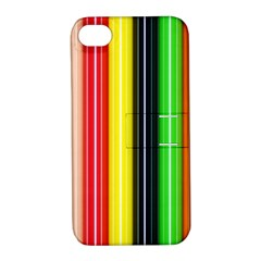 Colorful Striped Background Wallpaper Pattern Apple iPhone 4/4S Hardshell Case with Stand