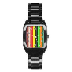 Colorful Striped Background Wallpaper Pattern Stainless Steel Barrel Watch