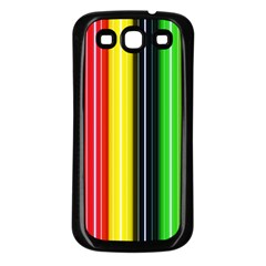 Colorful Striped Background Wallpaper Pattern Samsung Galaxy S3 Back Case (black)