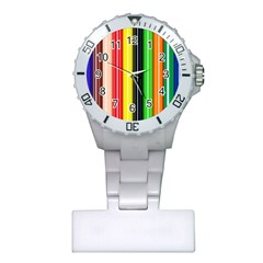 Colorful Striped Background Wallpaper Pattern Plastic Nurses Watch