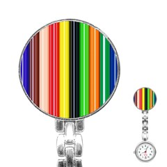 Colorful Striped Background Wallpaper Pattern Stainless Steel Nurses Watch