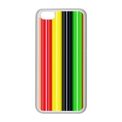 Colorful Striped Background Wallpaper Pattern Apple iPhone 5C Seamless Case (White)