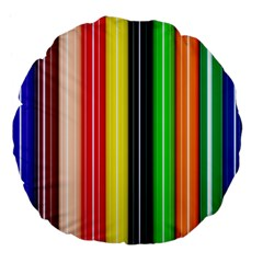 Colorful Striped Background Wallpaper Pattern Large 18  Premium Flano Round Cushions