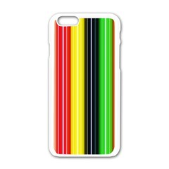 Colorful Striped Background Wallpaper Pattern Apple Iphone 6/6s White Enamel Case