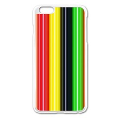 Colorful Striped Background Wallpaper Pattern Apple iPhone 6 Plus/6S Plus Enamel White Case