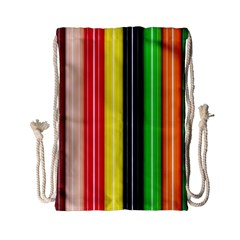 Colorful Striped Background Wallpaper Pattern Drawstring Bag (small)