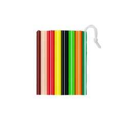 Colorful Striped Background Wallpaper Pattern Drawstring Pouches (XS)