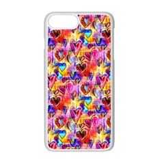 Spring Hearts Bohemian Artwork Apple Iphone 7 Plus White Seamless Case