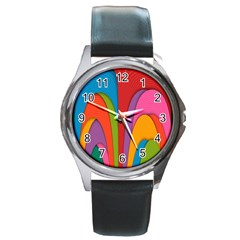 Modern Abstract Colorful Stripes Wallpaper Background Round Metal Watch