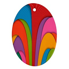 Modern Abstract Colorful Stripes Wallpaper Background Ornament (oval)