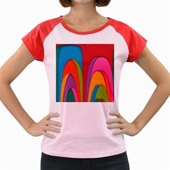 Modern Abstract Colorful Stripes Wallpaper Background Women s Cap Sleeve T Shirt