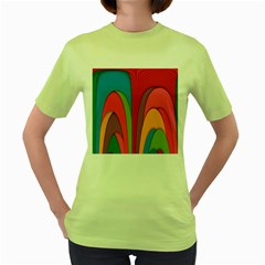 Modern Abstract Colorful Stripes Wallpaper Background Women s Green T-Shirt