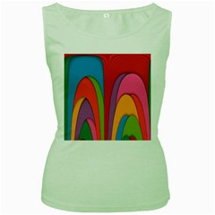 Modern Abstract Colorful Stripes Wallpaper Background Women s Green Tank Top