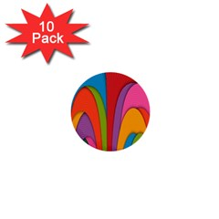 Modern Abstract Colorful Stripes Wallpaper Background 1  Mini Buttons (10 Pack)