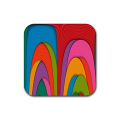 Modern Abstract Colorful Stripes Wallpaper Background Rubber Square Coaster (4 Pack)