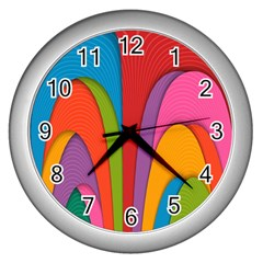 Modern Abstract Colorful Stripes Wallpaper Background Wall Clocks (Silver)