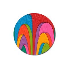 Modern Abstract Colorful Stripes Wallpaper Background Magnet 3  (Round)
