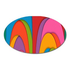 Modern Abstract Colorful Stripes Wallpaper Background Oval Magnet