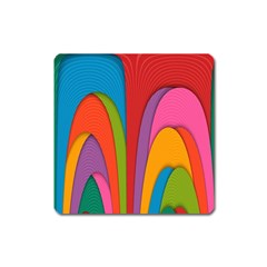 Modern Abstract Colorful Stripes Wallpaper Background Square Magnet