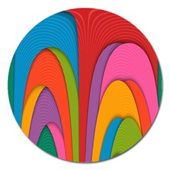 Modern Abstract Colorful Stripes Wallpaper Background Magnet 5  (round)