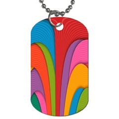 Modern Abstract Colorful Stripes Wallpaper Background Dog Tag (Two Sides)