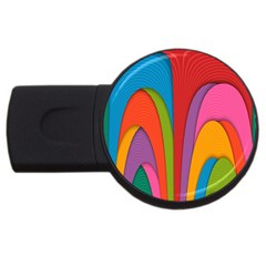 Modern Abstract Colorful Stripes Wallpaper Background Usb Flash Drive Round (2 Gb)