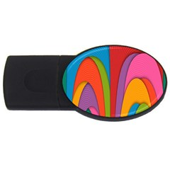 Modern Abstract Colorful Stripes Wallpaper Background Usb Flash Drive Oval (2 Gb)