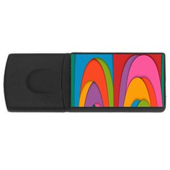 Modern Abstract Colorful Stripes Wallpaper Background USB Flash Drive Rectangular (2 GB)