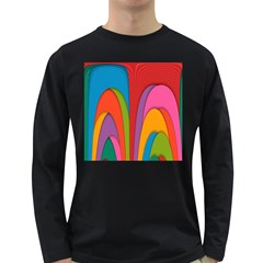 Modern Abstract Colorful Stripes Wallpaper Background Long Sleeve Dark T Shirts