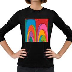 Modern Abstract Colorful Stripes Wallpaper Background Women s Long Sleeve Dark T-Shirts