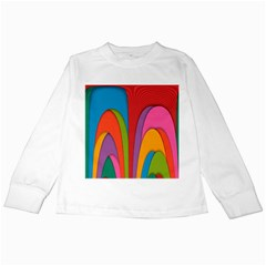 Modern Abstract Colorful Stripes Wallpaper Background Kids Long Sleeve T-Shirts