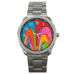 Modern Abstract Colorful Stripes Wallpaper Background Sport Metal Watch