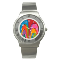 Modern Abstract Colorful Stripes Wallpaper Background Stainless Steel Watch