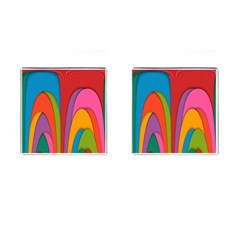 Modern Abstract Colorful Stripes Wallpaper Background Cufflinks (square)