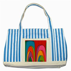Modern Abstract Colorful Stripes Wallpaper Background Striped Blue Tote Bag