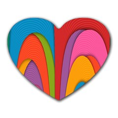 Modern Abstract Colorful Stripes Wallpaper Background Heart Mousepads