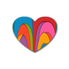 Modern Abstract Colorful Stripes Wallpaper Background Rubber Coaster (heart)
