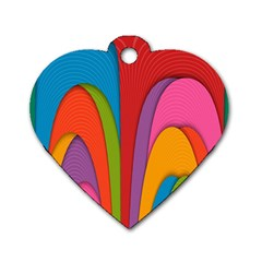 Modern Abstract Colorful Stripes Wallpaper Background Dog Tag Heart (two Sides)