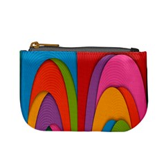 Modern Abstract Colorful Stripes Wallpaper Background Mini Coin Purses