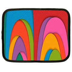Modern Abstract Colorful Stripes Wallpaper Background Netbook Case (xxl)