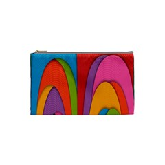 Modern Abstract Colorful Stripes Wallpaper Background Cosmetic Bag (small)