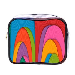 Modern Abstract Colorful Stripes Wallpaper Background Mini Toiletries Bags
