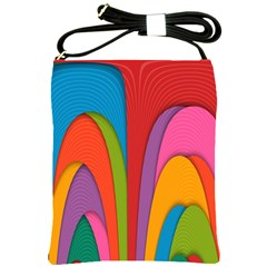 Modern Abstract Colorful Stripes Wallpaper Background Shoulder Sling Bags