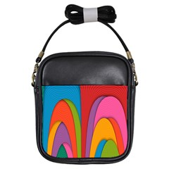 Modern Abstract Colorful Stripes Wallpaper Background Girls Sling Bags