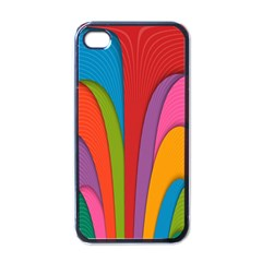 Modern Abstract Colorful Stripes Wallpaper Background Apple Iphone 4 Case (black)