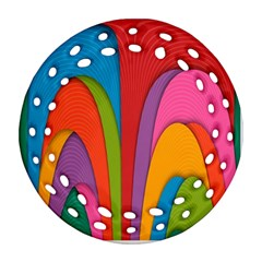 Modern Abstract Colorful Stripes Wallpaper Background Round Filigree Ornament (two Sides)